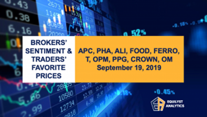 Brokers' Sentiment and Traders' Favorite Prices- APC, PHA, ALI, FOOD, FERRO, T, OPM, PPG, CROWN, OM - September 19, 2019