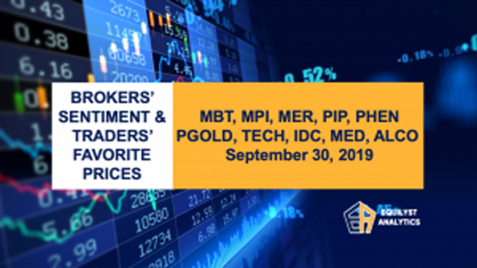 Brokers' Sentiment and Traders' Favorite Prices- MBT, MPI, MER, PIP, PHEN, PGOLD, TECH, IDC, MED, ALCO - September 30, 2019